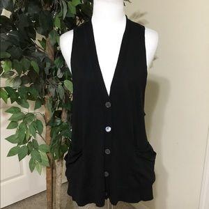 Inhabit Black Vest Style Button Down Tunic Sm